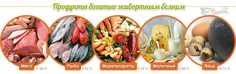 продукты с животным белком