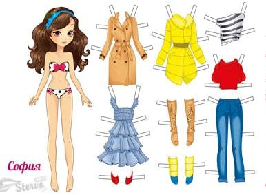 бумажные-куклы-София-с-одеждой-для-вырезания-распечатать