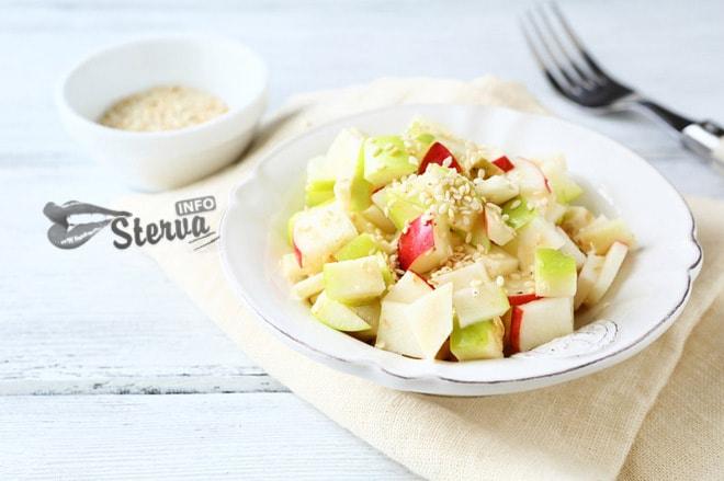 Постный салат без масла острый яблочный салат