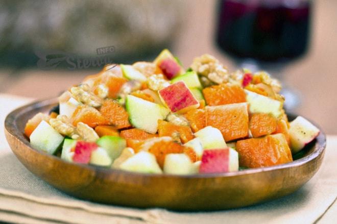 Постный салат без масла яблочно-тыквенный салат с орехами-