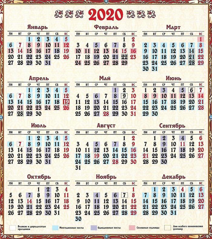 календарь церковных праздников 2020
